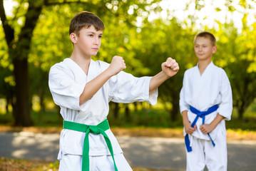 boys in white kimono during training karate exercises at summer
