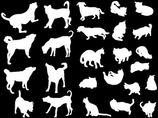 set of ten dogs and fifteen cats isolated on black