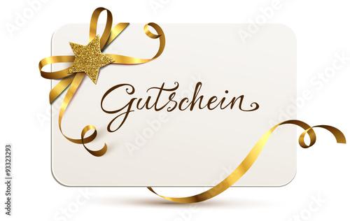 """""""gutscheinkarte mit goldener schleife und glitterstern"""