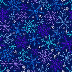 Seamless vector pattern with snowflakes