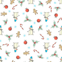 Christmas and New Year seamless vector pattern