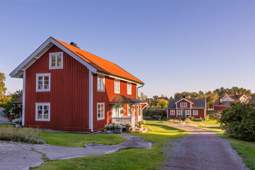 Red cottage on the island Harstena in Sweden, principally known