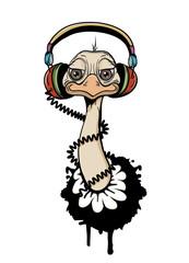 Vogel Strauß mit Kopfhörer Graffiti Illustration