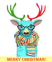 cute deer with scarf