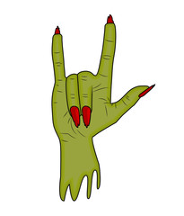 Zombie hand Horns, satan sign finger up gesture halloween vector. realistic cartoon illustration isolated on white background . Image of scary monster hand with torn, riven green skin.