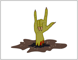 Zombie hand Horns, satan sign out of ground halloween vector. realistic cartoon illustration isolated on white background. Image of scary monster finger up gesture