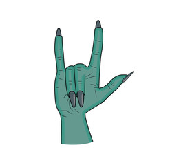 Zombie hand Horns, satan sign finger up gesture halloween vector. realistic cartoon illustration isolated on white background . Image of scary monster hand blue skin.