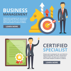 Business management, certified specialist flat illustration concepts set