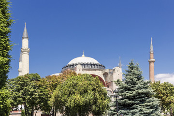 Sights of Turkey. Hagia Sophia in Istanbul. Famous Turkish monument.
