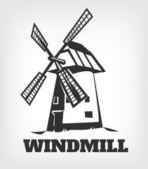 Windmill Logo. Vector black icon illustration