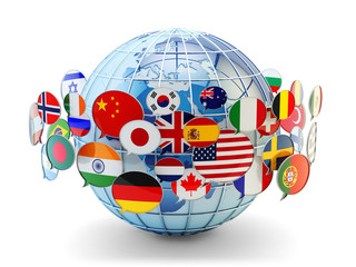 Global communication, international messaging and translation concept, speech bubbles with national flags of world countries around blue Earth globe isolated on white background