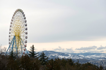Big observation wheel (Ferris) on the mount Mtatsminda in Tbilisi, capital of Georgia