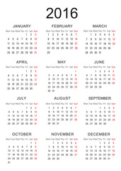 Simple Calendar of new year 2016 - EPS Vector Template