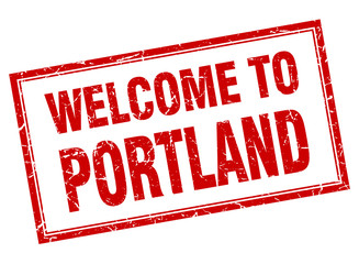 Portland red square grunge welcome isolated stamp