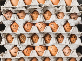 The egges with emotion as people in condominium life