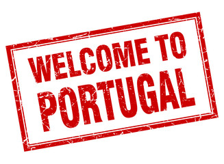 Portugal red square grunge welcome isolated stamp