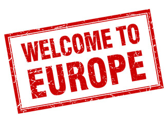 europe red square grunge welcome isolated stamp