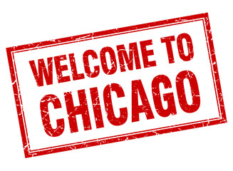 Chicago red square grunge welcome isolated stamp