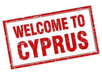Cyprus red square grunge welcome isolated stamp