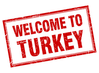 Turkey red square grunge welcome isolated stamp
