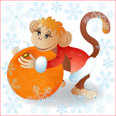 The monkey with tangerine.