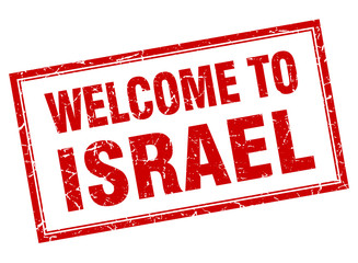 Israel red square grunge welcome isolated stamp