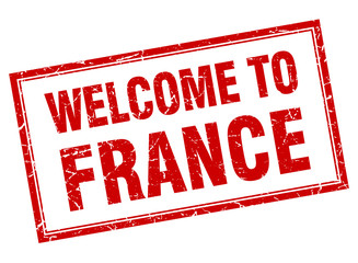 France red square grunge welcome isolated stamp