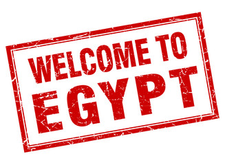 Egypt red square grunge welcome isolated stamp