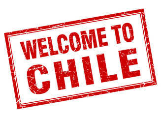 Chile red square grunge welcome isolated stamp