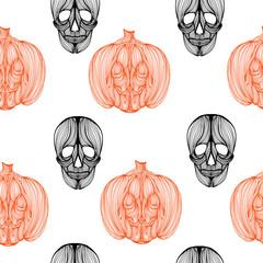Wallpaper skull pumpkin