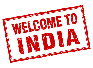 India red square grunge welcome isolated stamp