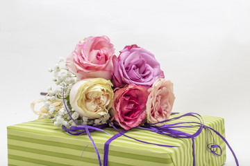 Gift box decorated with colorful roses, vintage style