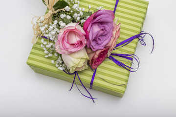 Cute gift box with roses, top view