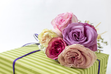 Closeup of Valentine gift with roses