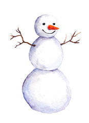 Cute isolated painted snow man, watercolor.