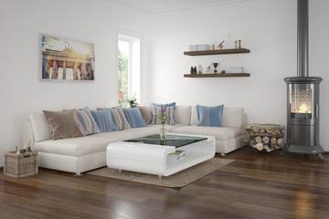 moderenes Wohnzimmer mit Kamin