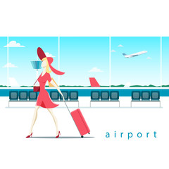 Woman with suitcase at the airport vector illustration