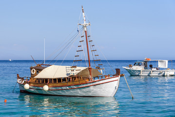 Traditional Greek boats at the coast of Crete