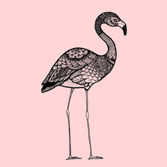 Ornamental Flamingo, trendy ethnic zentangle design, hand drawn, isolated vector illustration