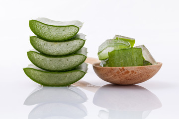 Aloe Vera slice natural spas ingredients for skin care isolated