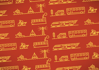 Transportation Vehicles Linear Vector Design Pattern