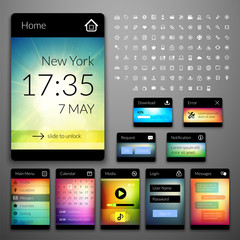 Mobile interface elements with colorful wallpaper and icon set