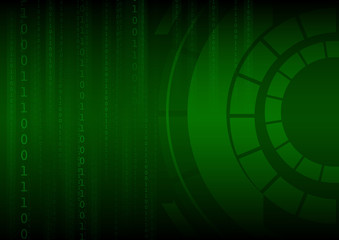 Vector : Green binary number and abstract circle on technology b