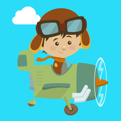 Cute airplane with kid aviator