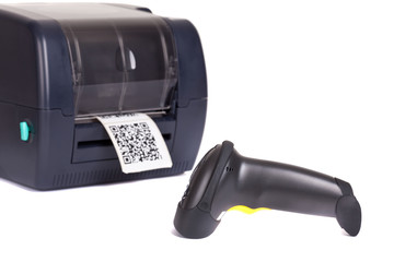Wall Mural - Label  Printer and  Wireless Barcode Scanners