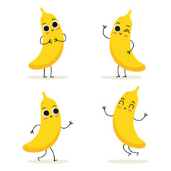Banana. Cute fruit character set isolated on white