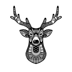 Ornamental deer head, trendy ethnic zentangle design, hand drawn, isolated vector