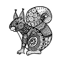Ornamental squirrel, trendy ethnic zentangle design, hand drawn, isolated vector
