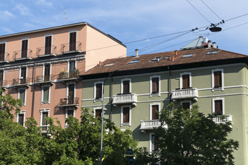 Milan: old typical residential buildings