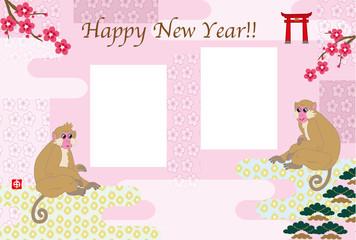 お洒落なサルのイラストのピンクの年賀状フォトフレーム